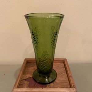 Vintage Indiana green glass vase